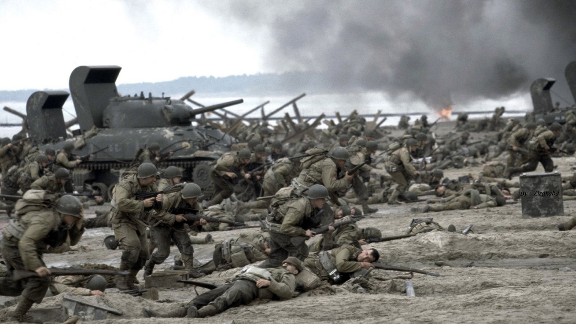 Download Wallpaper Assault Saving Private Ryan 1920x1080 The